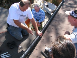 The Raintube product is made to fit any size rain gutter.